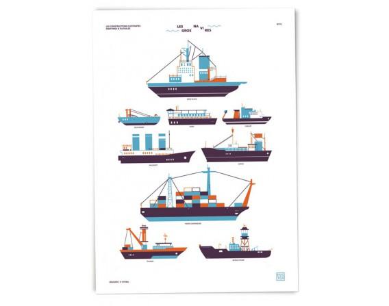 "Grande affiche ""Gros navires"" par Clémence Dupont"