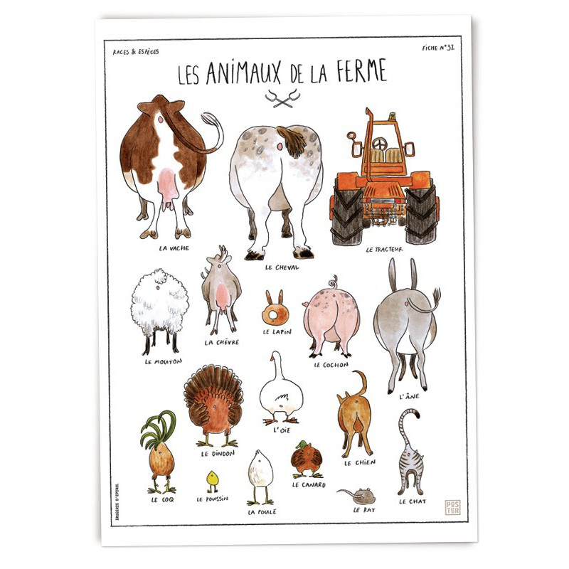 """Populaire Affiche """"Les animaux de la ferme"""" - Imagerie d'Épinal PL62"""