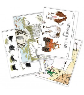 "4 cartes doubles ""Animaux"""