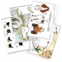 "Lot de 4 cartes doubles ""Animaux"""