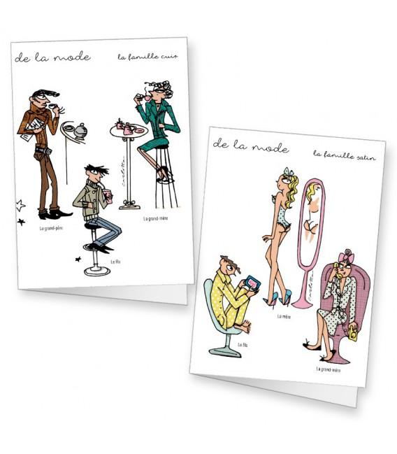 Lot de 2 cartes doubles illustrées par Carlotta
