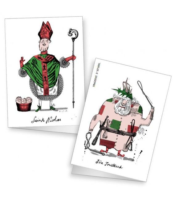 Lot de 2 cartes doubles Saint-Nicolas par Serge Bloch