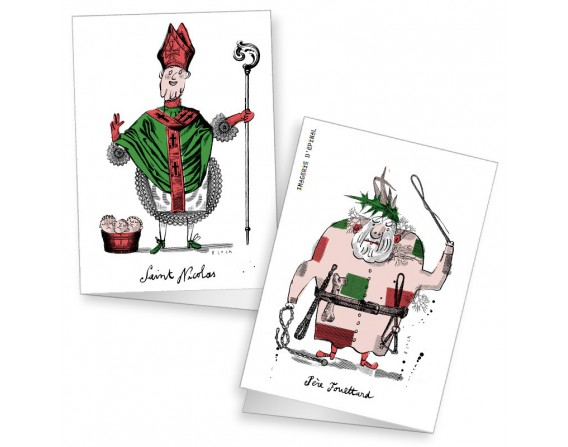 Lot de 2 cartes doubles Saint-Nicolas par Serge Bloch