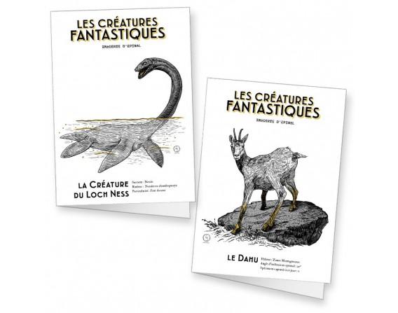 """Lot de 2 cartes doubles """"Les créatures fantastiques"""" par Fortifem"""