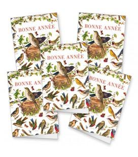 """Lot de 5 cartes de voeux """"Oiseaux"""""""