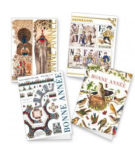 Lot de 4 cartes de voeux aux thèmes variés