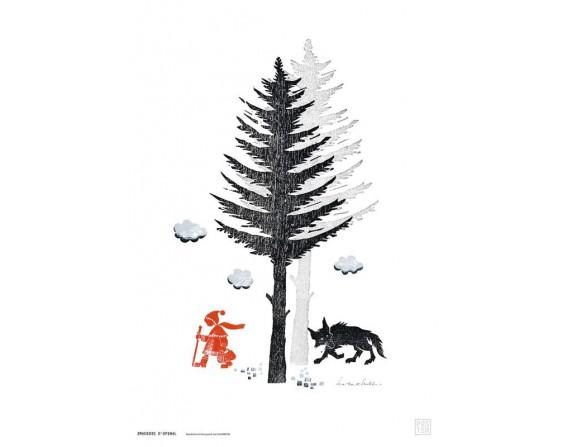 """Grande affiche """"Loup et Chaperon rouge""""l"""
