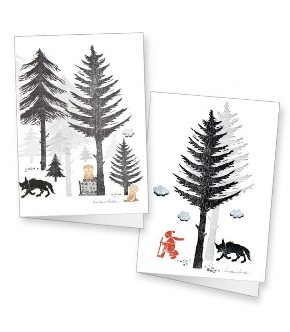 """Lot de 2 cartes doubles """"Petit chaperon rouge en forêt"""" Jean-Paul Marchal"""