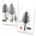 """Lot de 2 cartes doubles """"Petit chaperon rouge en forêt"""""""