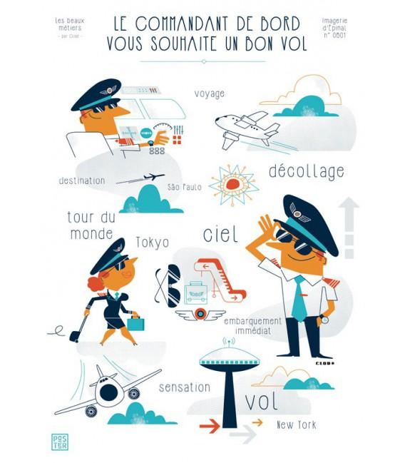 """Grande affiche """"Le commandant de bord vous souhaite un bon vol"""""""