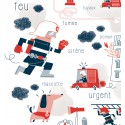"""Poster """"Au feu les pompiers"""" par Clod"""
