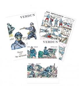 """3 cartes doubles """"Verdun"""""""