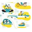 """Affiche """"La grande aventure de l'automobile"""" par Clod"""