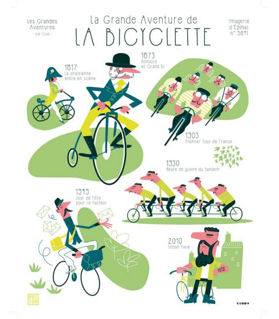 """Affiche """"La grande aventure de la bicyclette"""" par Clod"""