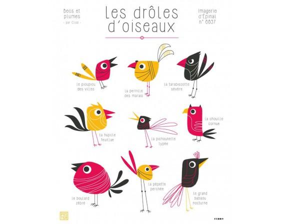 """Affiche """"Les drôles d'oiseaux"""" par Clod"""