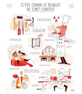 """Affiche """"C'est chaud le boulot de chef cuistot"""""""