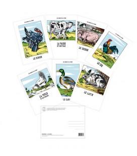 """Lot de 7 cartes simples """"Les animaux de la Ferme"""""""