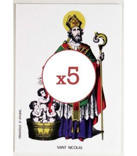Lot de 5 Cartes postales Saint Nicolas