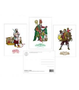 """Lot de 3 cartes postales série """"Saint-Nicolas"""""""