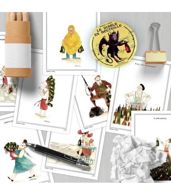 """Lot de 13 cartes postales thème """"Le Vin"""" par Zoé Thouron"""