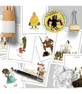 "Lot de 13 cartes postales ""In vino"""