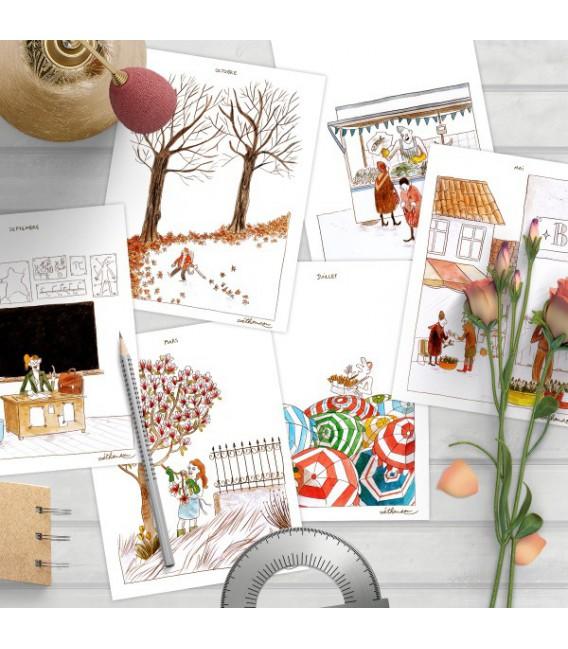 """Lot de 12 cartes postales""""Les 12 mois de l'année"""""""