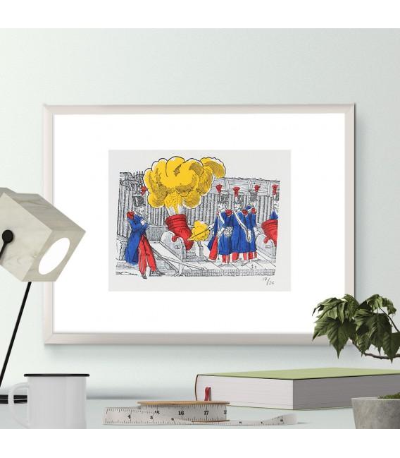 """""""Les Soldats aux canons"""" en couleurs encadré"""
