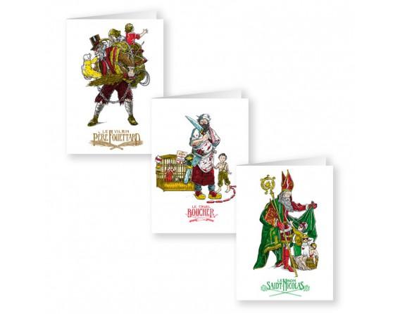"""Lot de 3 cartes doubles série """"Saint-Nicolas"""""""