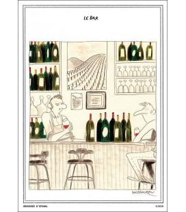 """Carte postale """"Le Bar"""" collection IN VINO VERITAS par Zoé Thouron"""