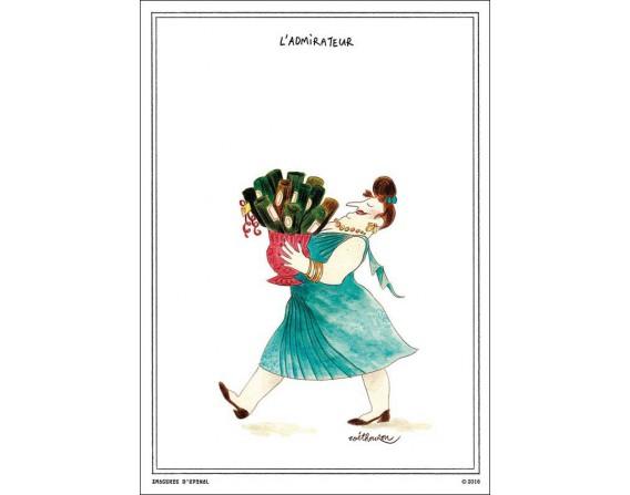 """Lot de 5 cartes postales """"L'admirateur"""" collection IN VINO VERITAS par Zoé Thouron"""