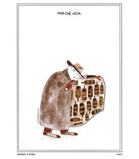 """Carte postale """"Marché noir"""" collection IN VINO VERITAS par Zoé Thouron"""