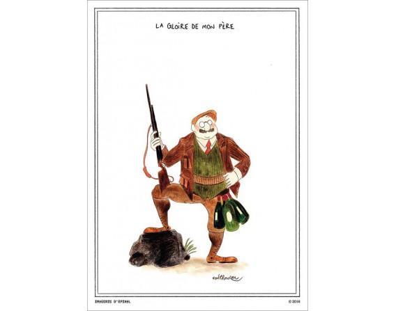 """Lot de 5 cartes postales """"A la gloire de mon père"""" collection IN VINO VERITAS par Zoé Thouron"""
