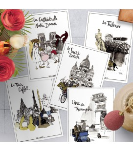 "Lot de 5 cartes postales - collection ""Paris s'amuse"""