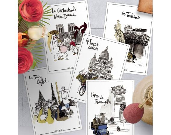 Lot de 5 cartes postales collection Paris s'amuse