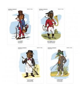"""Lot de 4 cartes postales collection """"Drôles d'animaux"""""""