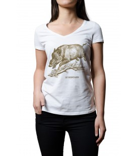 "Tee-shirt blanc femme ""sanglier"" taille S"
