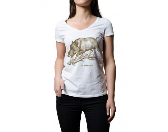 "Tee-shirt blanc femme ""sanglier"" taille S"