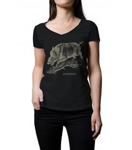 """Tee-shirt noir femme """"Sanglier"""" taille M"""