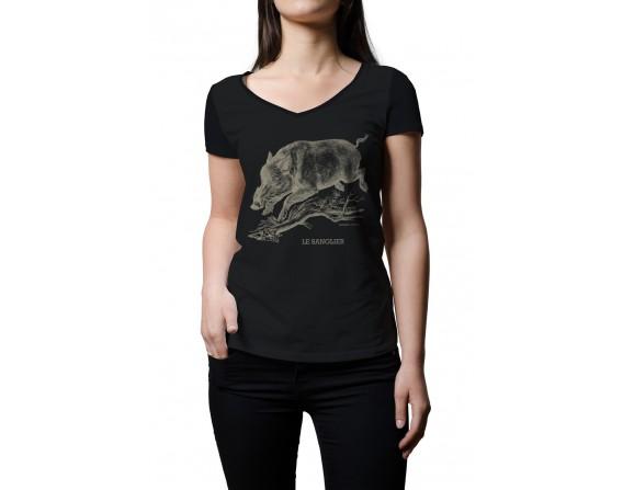 """Tee-shirt noir femme """"sanglier"""" taille L"""