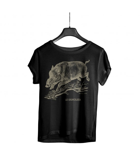 "Tee-shirt noir homme ""sanglier"" taille M"