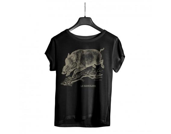 """Tee-shirt noir homme """"sanglier"""" taille XL"""