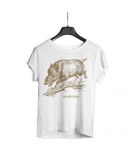 "Tee-shirt blanc homme ""sanglier"" taille XL"