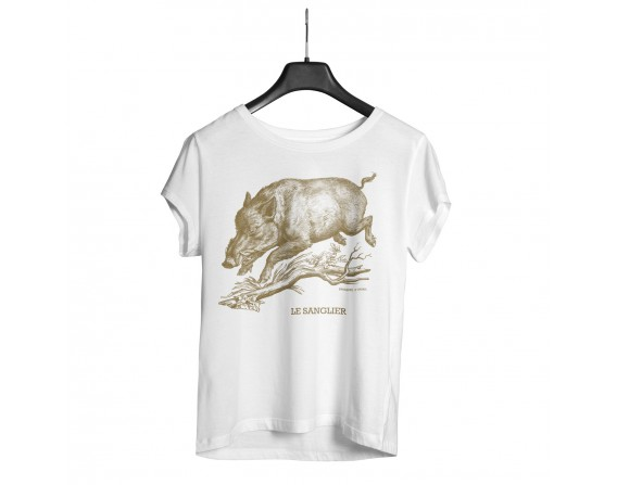 """Tee-shirt blanc homme """"sanglier"""" taille XL"""