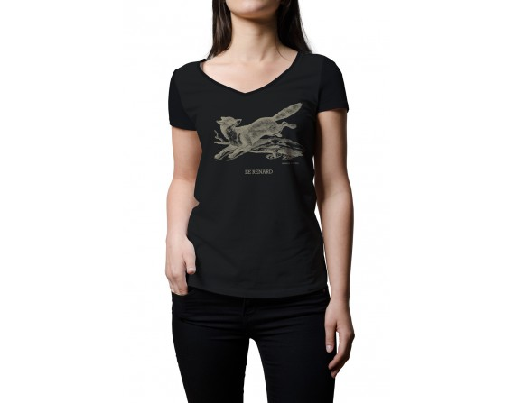 """Tee-shirt noir femme """"renard"""" taille M"""