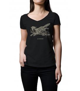 """Tee-shirt noir femme """"renard"""" taille L"""