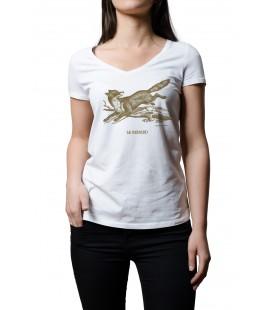 """Tee-shirt blanc femme """"renard"""" taille M"""