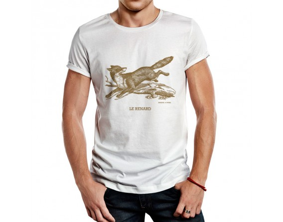 "Tee-shirt blanc homme ""renard"" taille M"