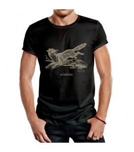 """Tee-shirt noir homme """"renard"""" taille M"""
