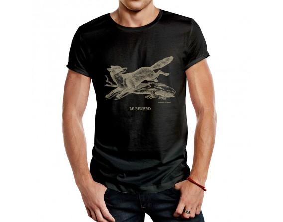 """Tee-shirt noir homme """"renard"""" taille XL"""