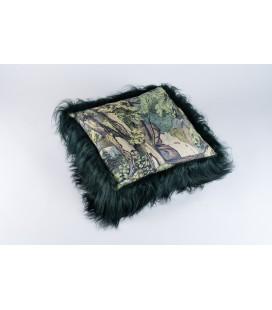 Coussin fond de forêt - mouton islandais vert sapin